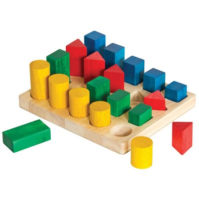 Guidecraft Wooden Colorful Shapes and Sizes Geo Forms