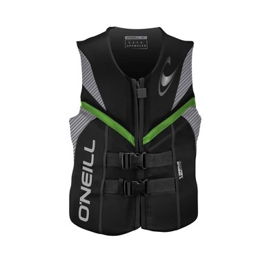 O'Neill Reactor USCG Wakeboarding/Waterskiing Life Vest, Size Large, Black/Green