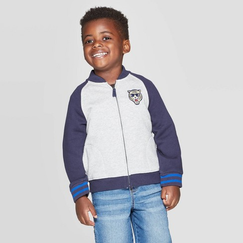 OshKosh B'Gosh Toddler Boys' Zipper Fleece Jacket - Navy/Gray - image 1 of 3