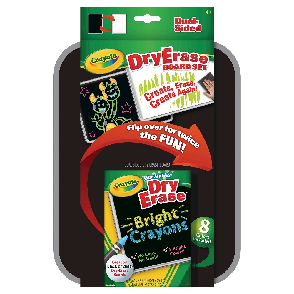 This Crayola Dual-Sided Dry Erase Board includes 8 Dry Erase Crayons and a Reusable Wipe Cloth. Color, draw, and write on black, white, or clear surfaces to make announcements, create, or brainstorm. Featured colors are Orange, Yellow, Red, White, Purple, Blue, Green, and Brown. Whenever you need to sharpen colors, use the built in crayon sharpener for convenience on the go. The double-sided board has a white dry erase board on one side and a black dry erase board on the other, allowing you to switch it up. This set makes a great message board for lockers, bedroom doors, shops, office cubicles, and more. Gender: unisex.