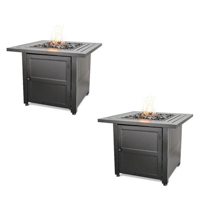 """Endless Summer 30"""" Propane Gas Outdoor Fire Pit Table w/ Lava Rock, Black 2 Pack"""