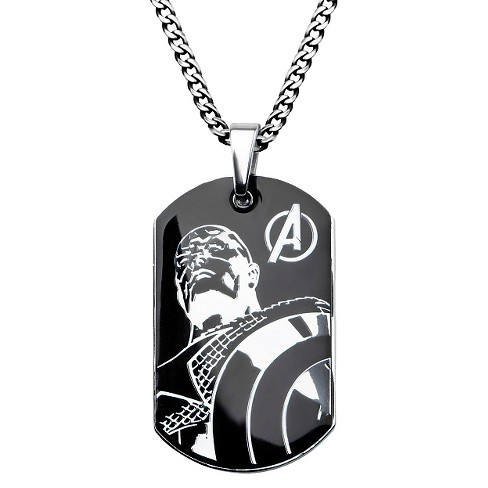 "Men's Marvel® Avengers Captain America Stainless Steel Stainless Steel Dog Tag (24"") - image 1 of 1"
