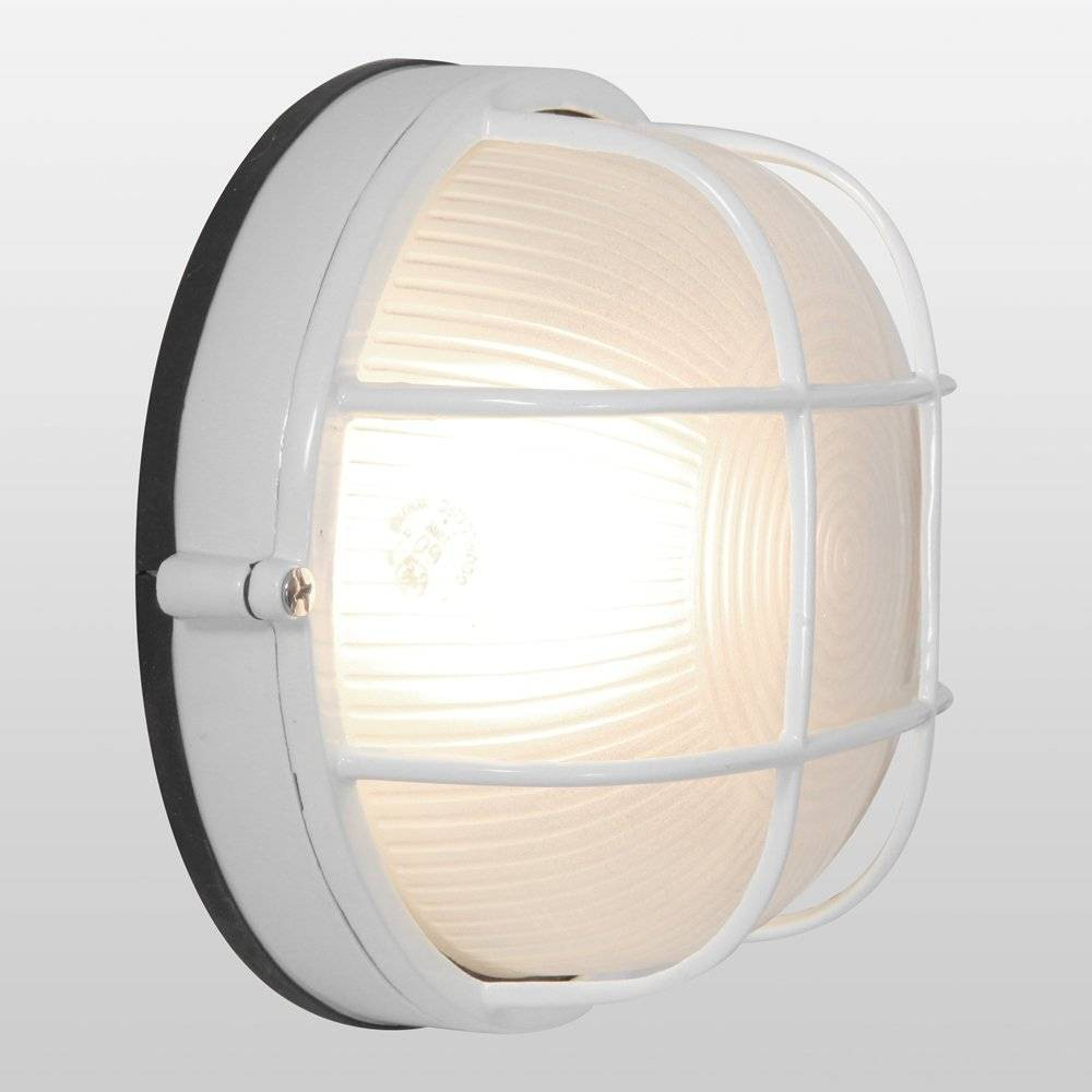 "Image of ""7"""" Nauticus Round LED Outdoor Wall Light with Frosted Glass Shade White - Access Lighting"""
