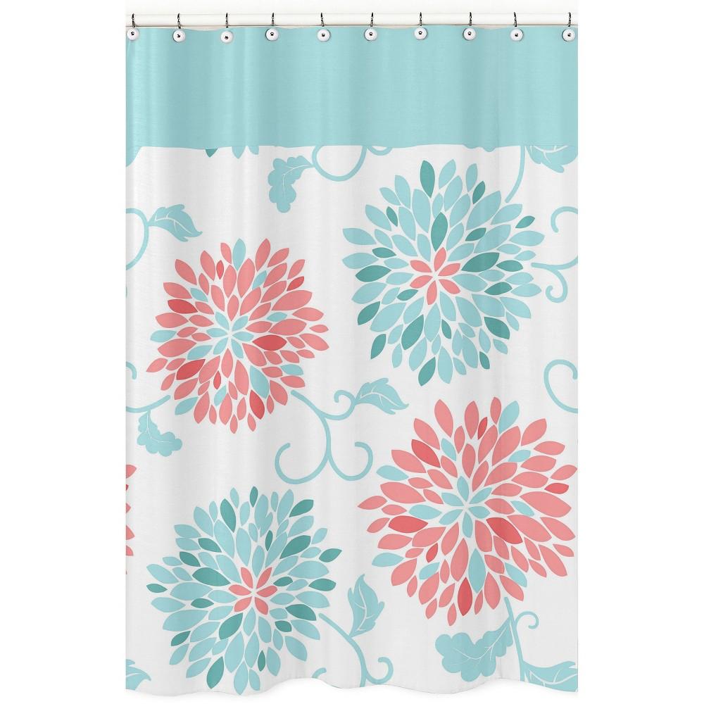 Floral Shower Curtain Blue/Coral (Blue/Pink) - Sweet Jojo Designs