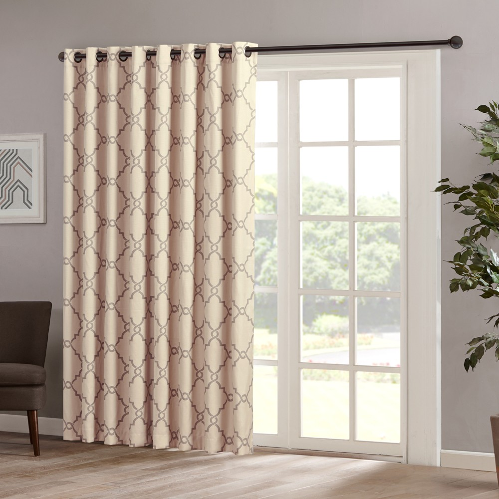 "Image of ""100""""x84"""" Sereno Fretwork Print Blackout Extra Wide Curtain Panel Beige"""