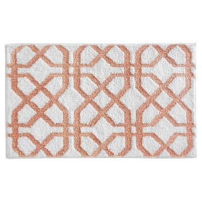 Trellis Geometric Bath Rug (34 x21 )Coral - InterDesign®