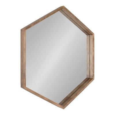 "31"" x 36"" Hutton Hexagon Wall Mirror Rustic Brown - Kate & Laurel All Things Decor"