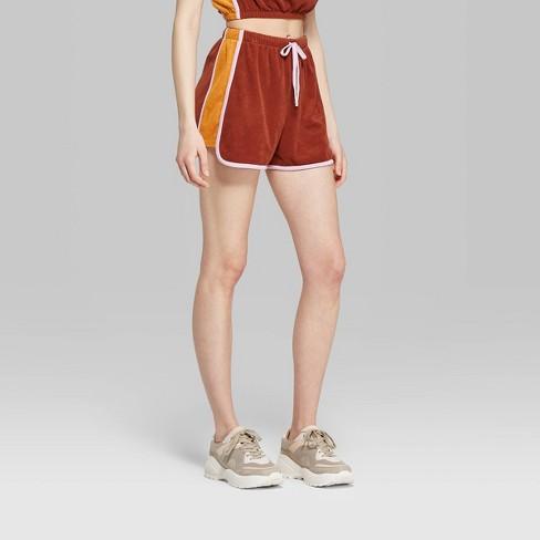 9fc28be1c0 Women's High-Rise Retro Terry Shorts - Wild Fable™ Bronze Wave/Orange