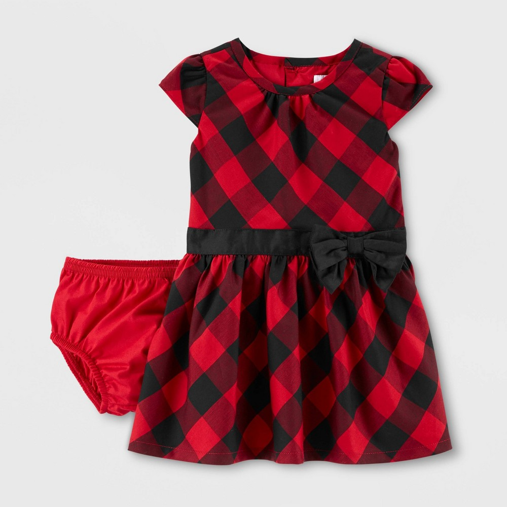 Image of Baby Girls' Holiday Plaid Drop Waist Dress - Just One You made by carter's Red 18M, Girl's