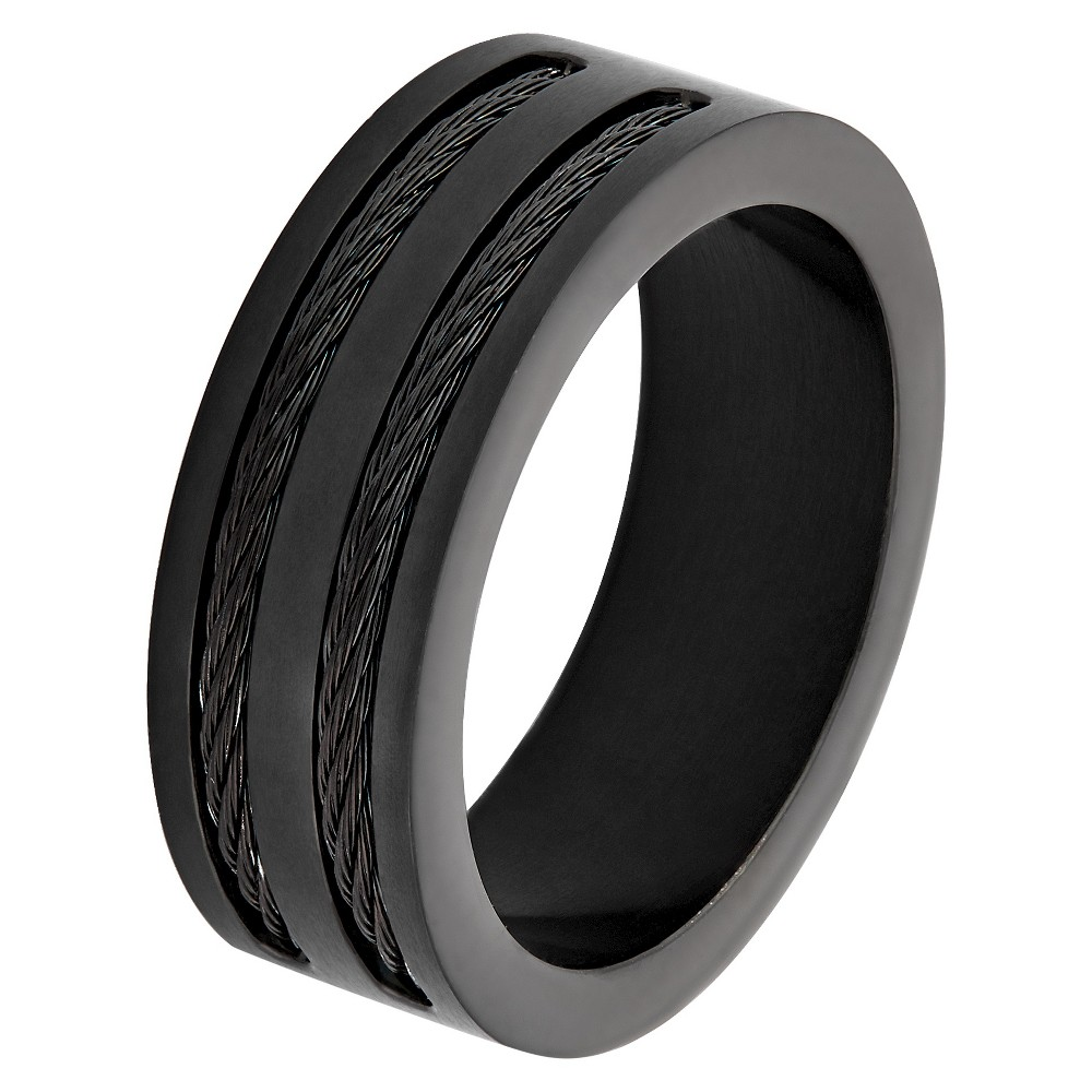 Men's West Coast Jewelry Blackplated Stainless Steel Double Wire Cable Inlay Band Ring (11), Black