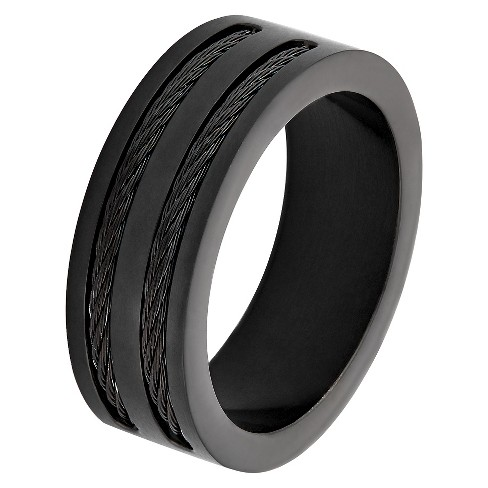 Men's West Coast Jewelry Blackplated Stainless Steel Double Wire Cable Inlay Band Ring - image 1 of 3