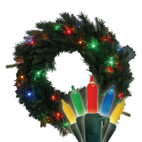 "22"" Pre-Lit Christmas Pine Wreath - MultiColored LED Lights - image 1 of 1"