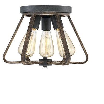 Ceiling Lights Semi-Flush Mount Weathered Wood with Copper Gold - Aurora Lighting