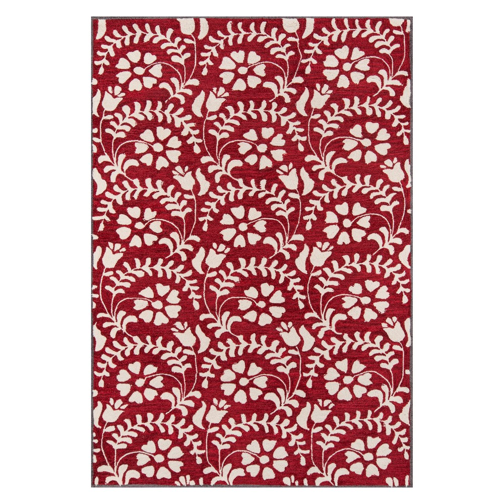 5'X7'6 Floral Tufted Area Rug Red - Momeni