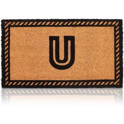 Monogrammed Door Mat with Letter U Nonslip Coir Welcome Mat (17 x 30 Inches)