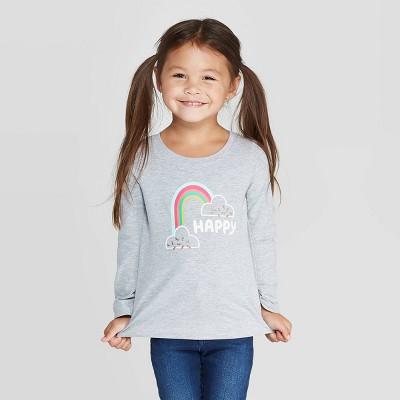 Toddler Girls' Long Sleeve 'Happy Rainbow' T-Shirt - Cat & Jack™ Heather Gray 5T