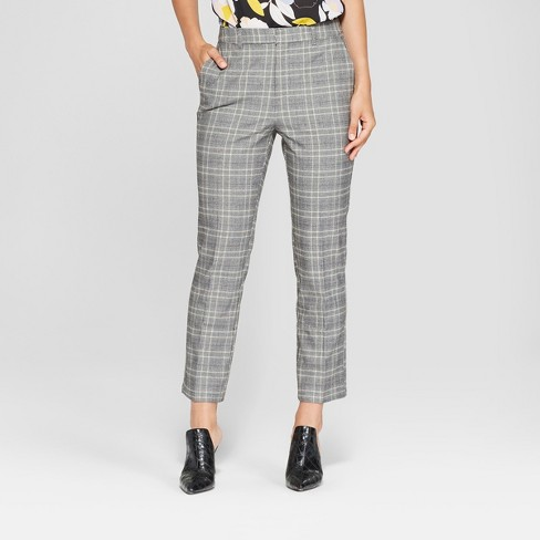 Women S Plaid Split Back Relaxed Ankle Trouser Who What Wear Blue