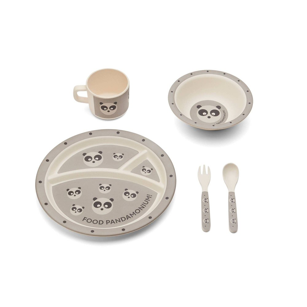 Image of 5pc Bamboo Fiber Panda Dinnerware Set Gray - Red Rover