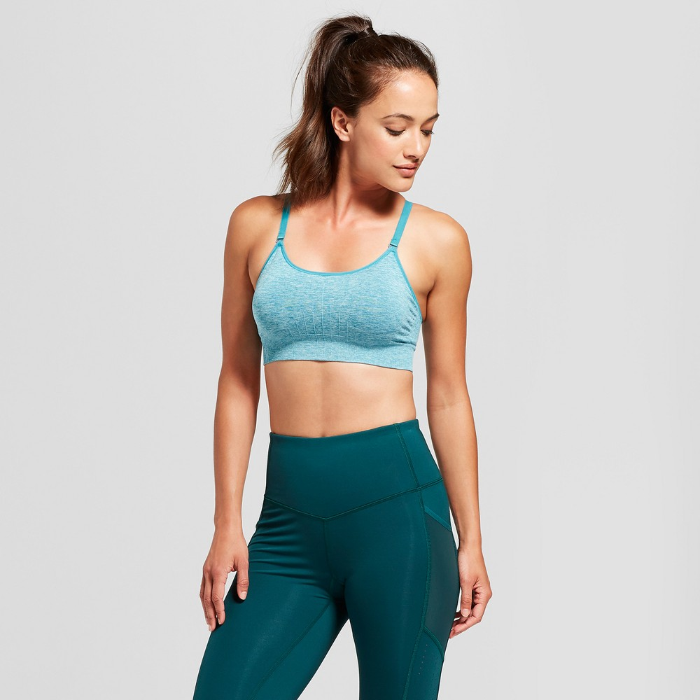 Women's Medium Support Seamless Cami Sports Bra - C9 Champion Mermaid Teal Heather M