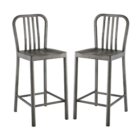 Clink Counter Stool Set of 2 Silver - Modway - image 1 of 4
