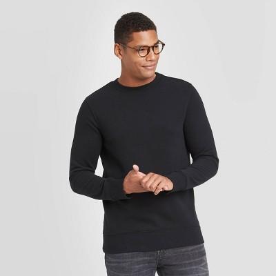 Men's Regular Fit Crew Fleece Sweatshirt - Goodfellow & Co™ Black
