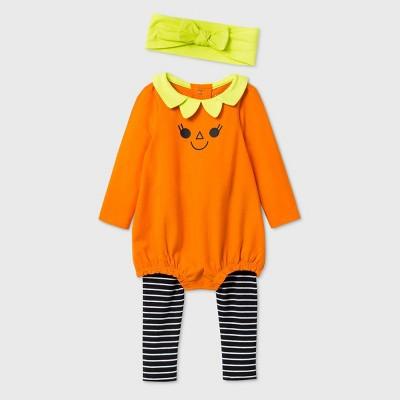 Baby Girls' Pumpkin Romper Top & Bottom Set - Cat & Jack™ Orange Newborn