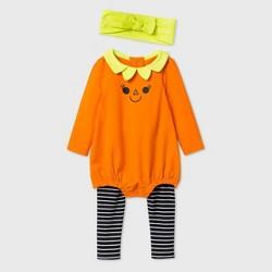 Baby Girls' Pumpkin Romper Top & Bottom Set with Headband - Cat & Jack™ Orange