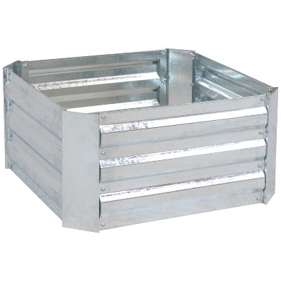 Galvanized Steel Raised Bed - 24-Inch Square - Silver - Sunnydaze Decor