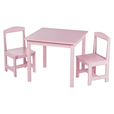 Madeline Kids Table and Chairs Set - Set of 3 - Pink - TMS