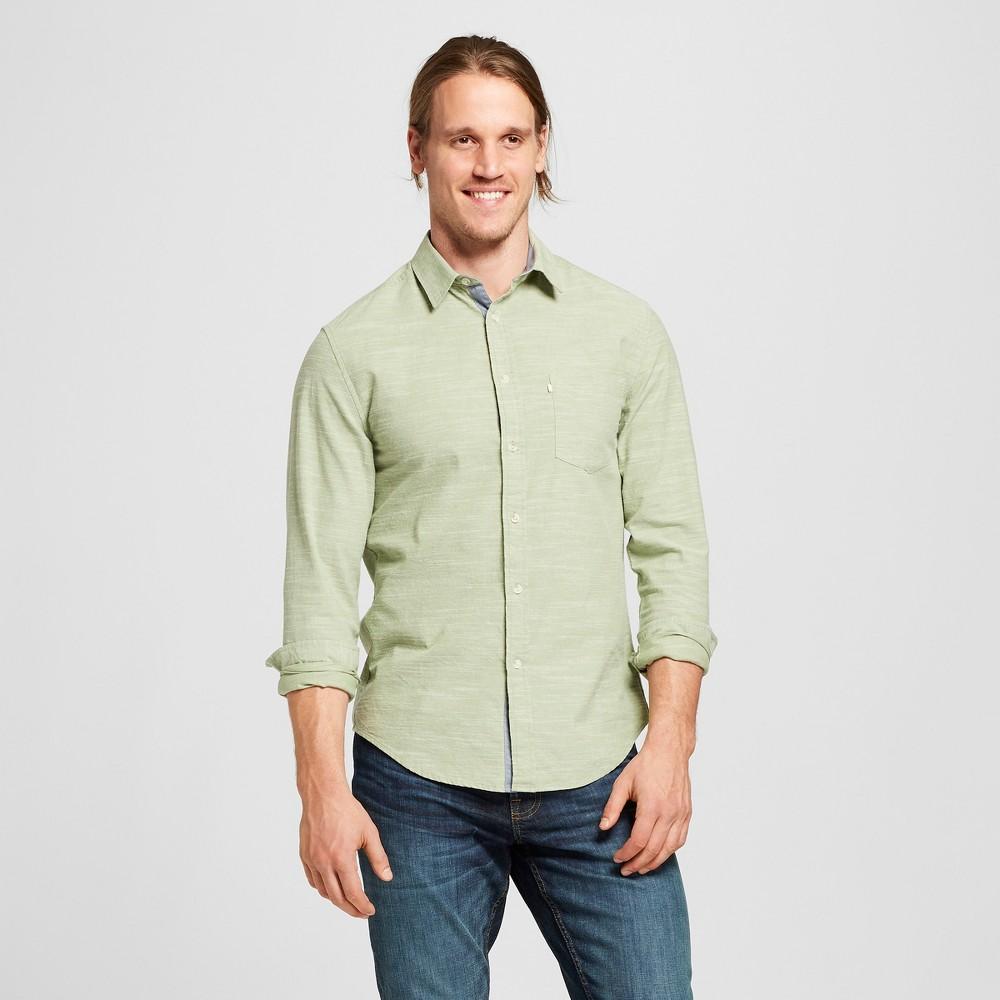 Men's Standard Fit Cotton Slub Solid Long Sleeve Button-Down Shirt - Goodfellow & Co Sage Fling XL