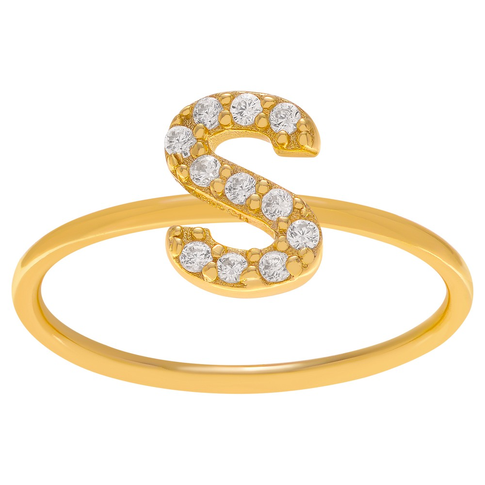 1/6 CT. T.W. Round-cut CZ Initial S Pave Set Ring in Sterling Silver - Gold, 10, Girl's, Gold Letter S