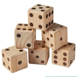 ECR4Kids Giant Yard Dice Set for Lawn Games -Jumbo Playing Dice with Score Card and Carrying Bag - 6 Pc