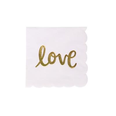 "30ct ""Love"" Beverage Napkins White/Gold - Spritz™"