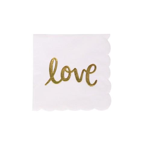 "30ct ""Love"" Beverage Napkins White/Gold - Spritz™ - image 1 of 2"