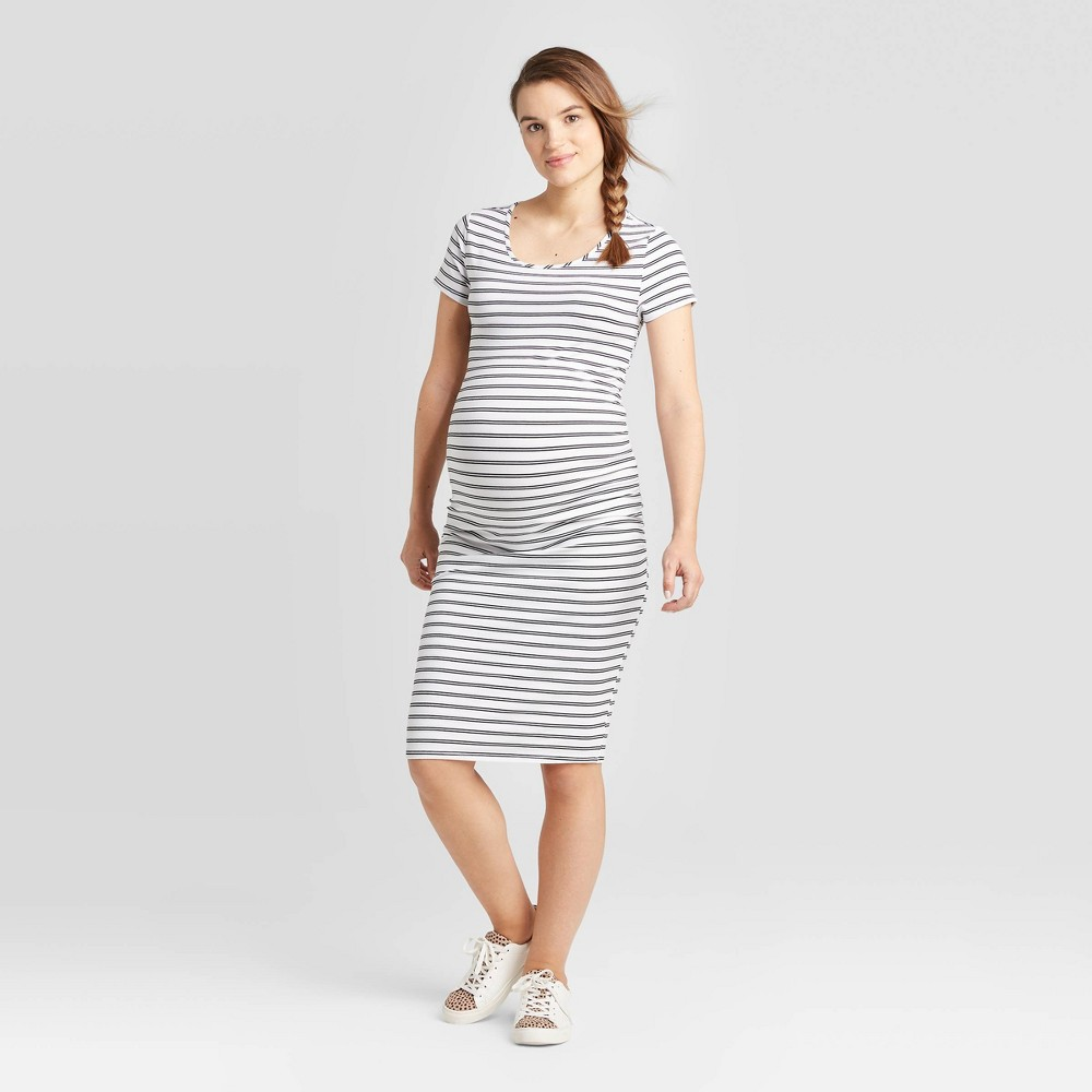 Striped Short Sleeve T-Shirt Maternity Dress - Isabel Maternity by Ingrid & Isabel White/Black XS, Black/White was $24.99 now $10.0 (60.0% off)