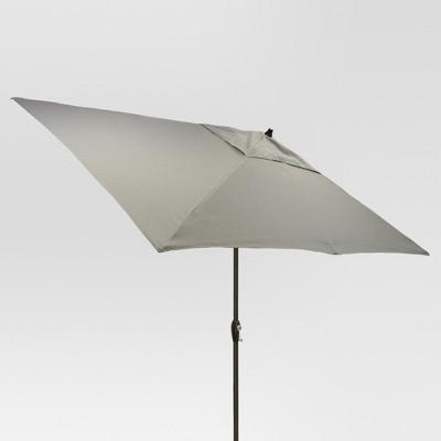 6.5' x 10' Rectangular Patio Umbrella Gray - Black Pole - Threshold™