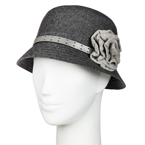 Women's Bucket Hat with Flower - Manhattan Hat Co. Gray One Size - image 1 of 1