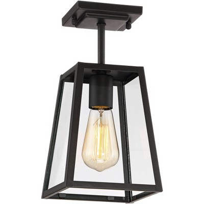 """John Timberland Modern Outdoor Ceiling Light Fixture Mystic Black 6"""" Clear Glass Damp Rated for Exterior House Porch Patio"""