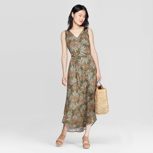 Women's Floral Print Sleeveless V-Neck Maxi Dress - A New Day™ Olive - image 1 of 6