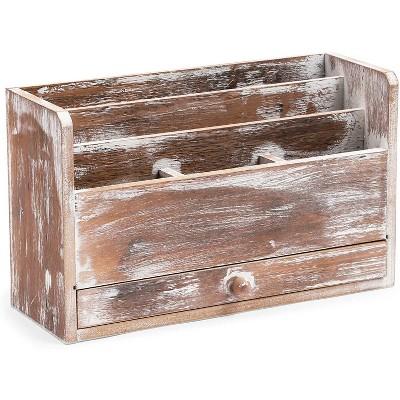 Wooden Mail Desktop Organizer, 3 Tier with Storage Drawer (11.75 x 7 x 4.1 inch)