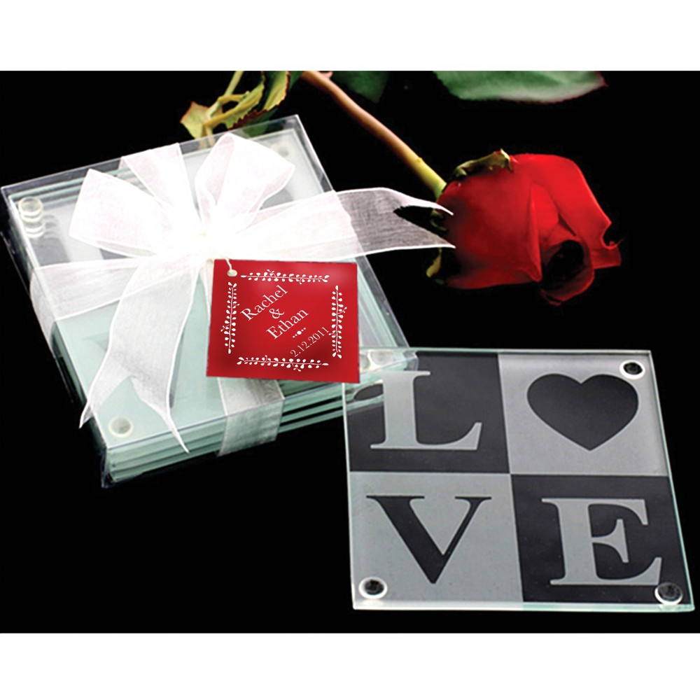 Image of 12ct Kate Aspen Love Glass Coaster Gift Set