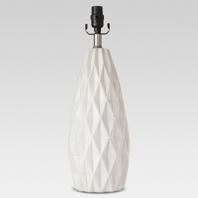 Faceted Ceramic Large Lamp Base White Includes Energy Efficient Light Bulb - Threshold™