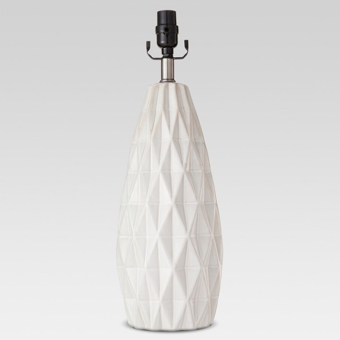Faceted Ceramic Large Lamp Base White Includes Energy Efficient Light Bulb - Threshold™ - image 1 of 1