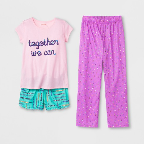 Girls' Short Sleeve 3pc Pajama Set - Cat & Jack™ Pink - image 1 of 1
