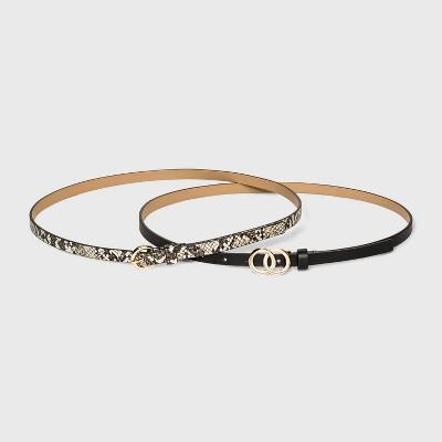 Women's 2pk Double O Ring Buckle Belt - A New Day™ Black/Snake