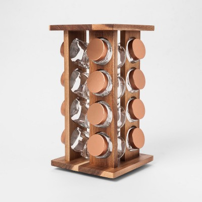 16pc Stained Acacia 4 Sided Spice Rack - Threshold™