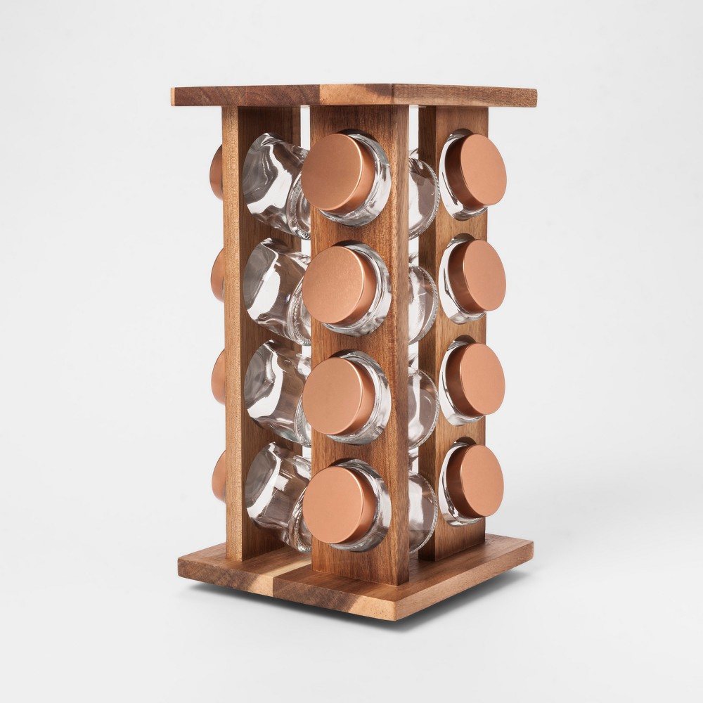 16pc Stained Acacia 4 Sided Spice Rack - Threshold, Brown