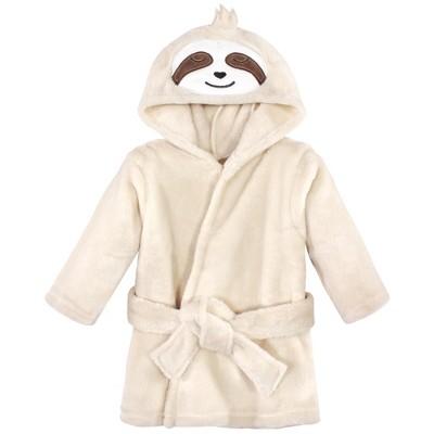 Hudson Baby Infant Unisex Plush Animal Face Bathrobe, Sloth, 0-9 Months