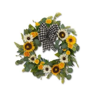 """GIL 22""""D Sunflower and Eucalyptus Wreath"""