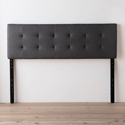 King/California King Emmie Adjustable Upholstered Headboard with Square Tufting Charcoal - Brookside